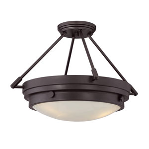 Lucerne English Bronze Three-Light Semi Flush