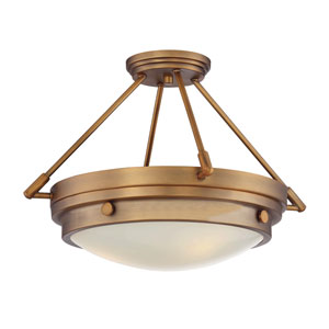Lucerne Warm Brass Three-Light Semi Flush