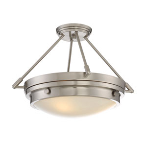Lucerne Satin Nickel Three-Light Semi Flush