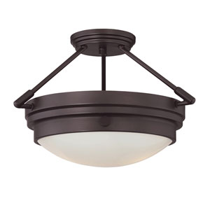 Lucerne English Bronze Two-Light Semi Flush
