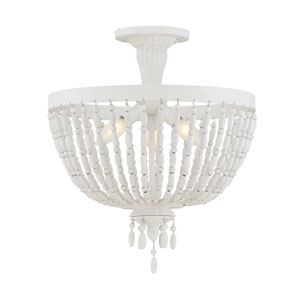Geneva Porcellan White Three-Light Semi-Flush