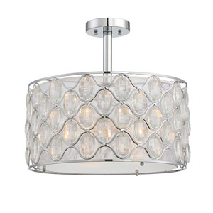 Opus Polished Chrome Three-Light Semi-Flush