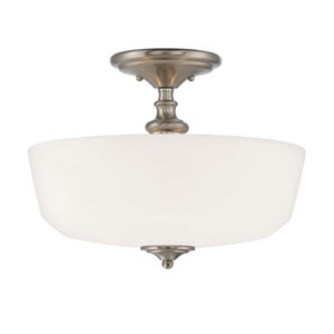 Melrose Satin Nickel Two-Light Semi Flush