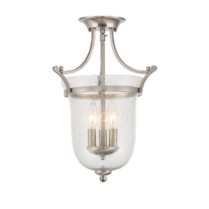 Trudy Satin Nickel Three-Light Semi Flush
