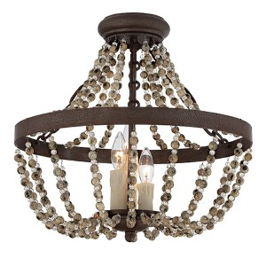 Mallory Bronze Three-Light Semi-Flush