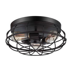 Scout English Bronze 15-Inch Three-Light Flush Mount