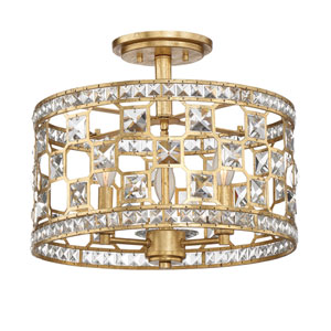Clarion Gold Bullion Three-Light Semi Flush