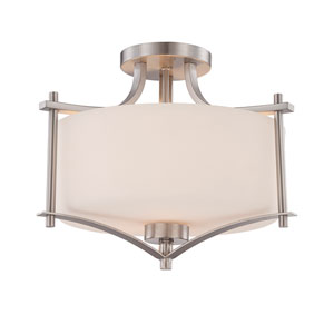 Colton Nickel and Pewter Two-Light Semi-Flush