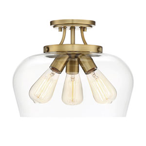 Octave Warm Brass Three-Light Semi-Flush Mount