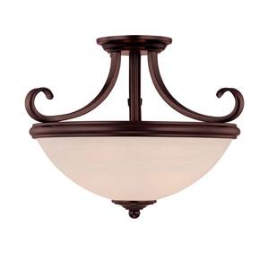 Willoughby English Bronze Two-Light Semi Flush