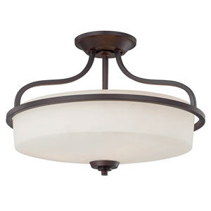Charlton English Bronze Three Light Semi-Flush