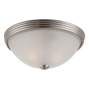 Savoy House 11-Inch English Satin Nickel Two Light Flush Mount