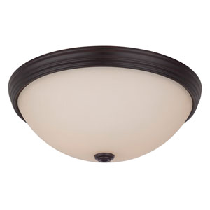 Savoy House 13-Inch English Bronze Two Light Flush Mount with Soft Cream Etched Glass