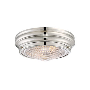 Bento Polished Nickel 13-Inch Two-Light Flush Mount