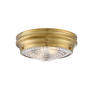 Bento Warm Brass 13-Inch Two-Light Flush Mount