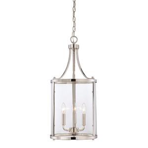 Penrose Chrome and Polished Nickel Three-Light Foyer Pendant