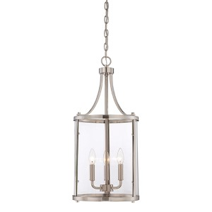 Penrose Brushed Nickel and Pewter Three-Light Foyer Pendant
