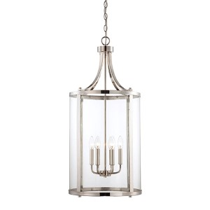 Penrose Chrome and Polished Nickel Six-Light Foyer Pendant