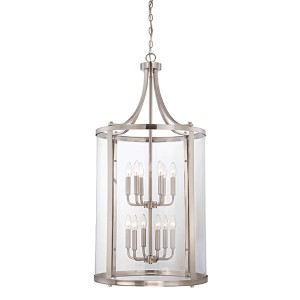 Penrose Brushed Nickel and Pewter 12-Light Foyer Pendant