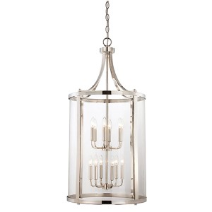 Penrose Chrome and Polished Nickel 12-Light Foyer Pendant