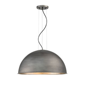 Sommerton Rubbed Zinc with Silver Leaf Three-Light Pendant
