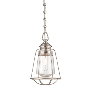 Vintage Brushed Nickel and Pewter One-Light 8-Inch Wide Mini Pendant