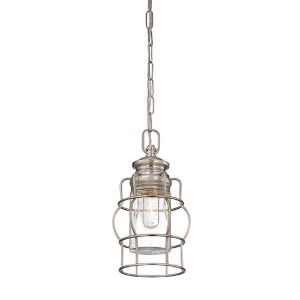 Vintage Brushed Nickel and Pewter One-Light 7-Inch Wide Mini Pendant