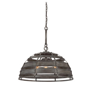 Malden Raw Steel Three-Light Pendant