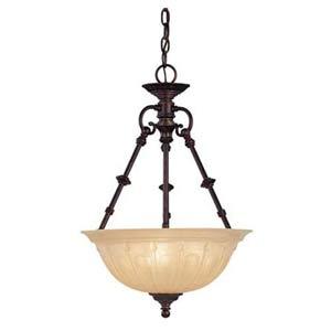 Cavalier English Bronze Three-Light Small Pendant