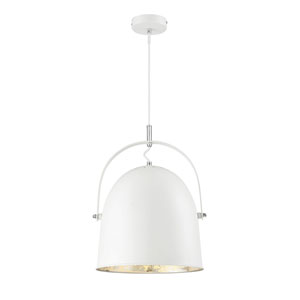 Cypress White with Silver Leaf One-Light Pendant