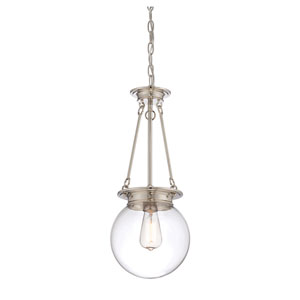 Glass Filament Polished Nickel One Light Pendant