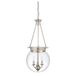 Glass Filament Polished Nickel Three Light Pendant