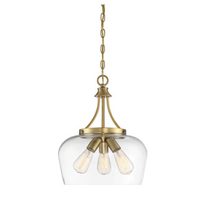 Octave Warm Brass Three-Light Pendant