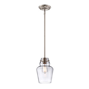 Glass Filament Satin Nickel One Light Mini Pendant