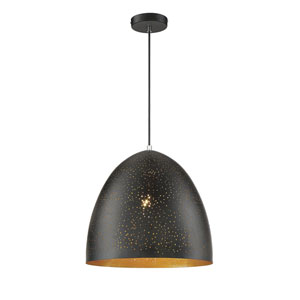 Graham Black with Gold Leaf One-Light Pendant
