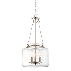 Akron Polished Nickel 12-Inch Three-Light Pendant
