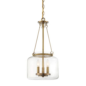 Akron Warm Brass 12-Inch Three-Light Pendant