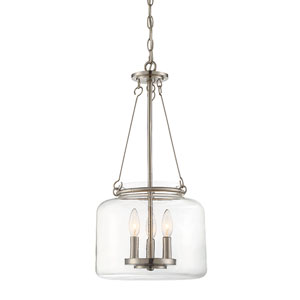 Akron Satin Nickel 12-Inch Three-Light Pendant