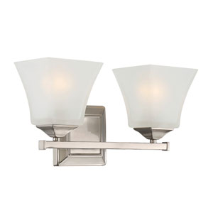 Castel Satin Nickel Two-Light Bath Sconce