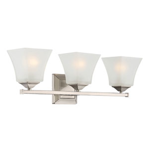 Castel Satin Nickel Three-Light Bath Sconce