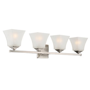 Castel Satin Nickel Four-Light Bath Sconce
