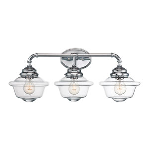 Fairfield Chrome 26-Inch Three-Light Bath Fixture