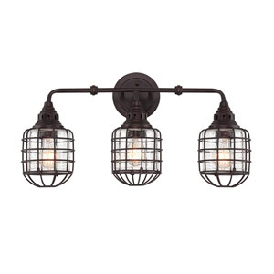 Connell English Bronze 23.5-Inch Three-Light Bath Fixture