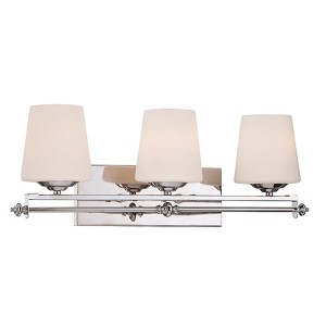 Aiden Chrome and Polished Nickel Three-Light Bath Bar