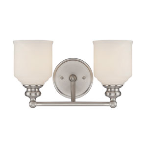 Melrose Satin Nickel 14-Inch Two-Light Bath Fixture