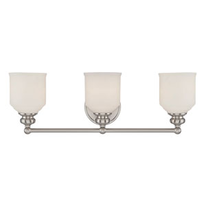 Melrose Satin Nickel 24-Inch Three-Light Bath Fixture