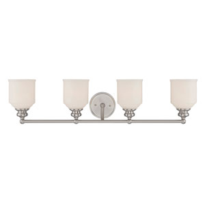 Melrose Satin Nickel 33.5-Inch Four-Light Bath Fixture