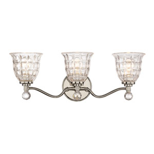 Birone Polished Nickel Three-Light Bath Sconce