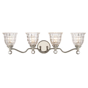 Birone Polished Nickel Four-Light Bath Sconce