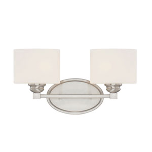 Kane Satin Nickel Two-Light Bath Sconce